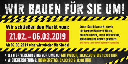 Wir renovieren unseren Markt vom 21. Februar bis 6. März 2019.